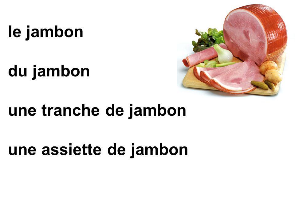 le jambon du jambon une tranche de jambon une assiette de jambon