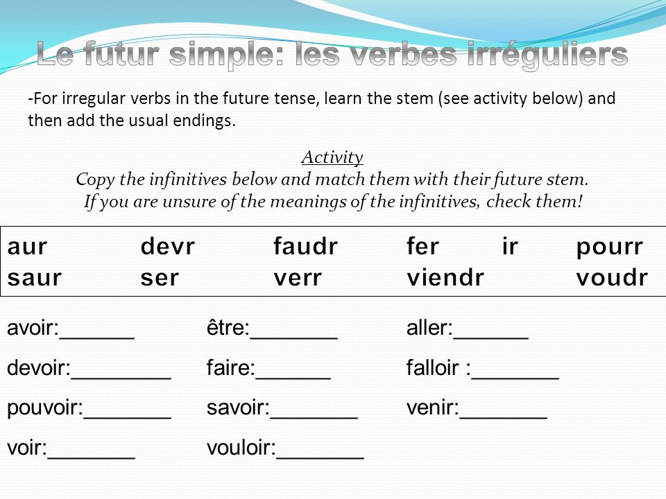-For irregular verbs in the future tense, learn the stem (see activity below) and then add the usual endings. Activity Copy the infinitives below and