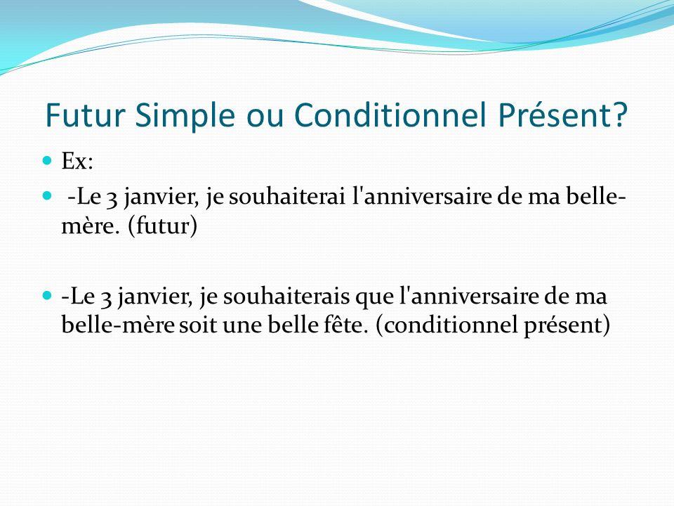 Futur Simple ou Conditionnel Présent? Ex: -Le 3 janvier, je souhaiterai l'anniversaire de ma belle- mère. (futur) -Le 3 janvier, je souhaiterais que l