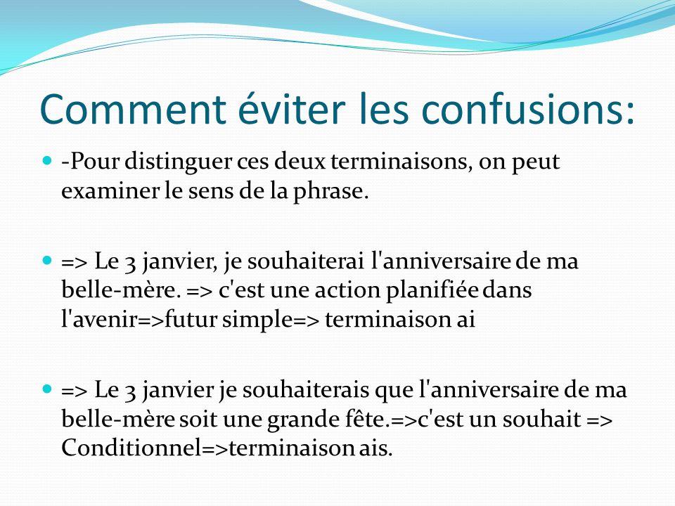 Comment éviter les confusions: -Pour distinguer ces deux terminaisons, on peut examiner le sens de la phrase. => Le 3 janvier, je souhaiterai l'annive