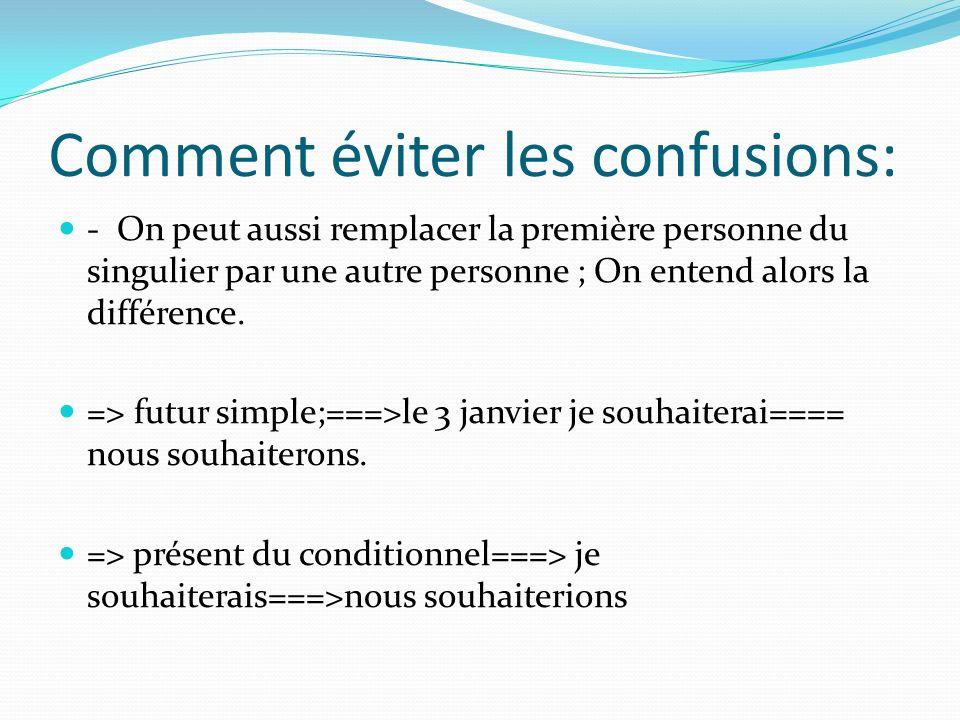 Comment éviter les confusions: - On peut aussi remplacer la première personne du singulier par une autre personne ; On entend alors la différence. =>
