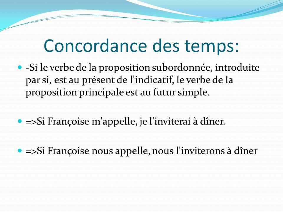 Concordance des temps: -Si le verbe de la proposition subordonnée, introduite par si, est au présent de l'indicatif, le verbe de la proposition princi