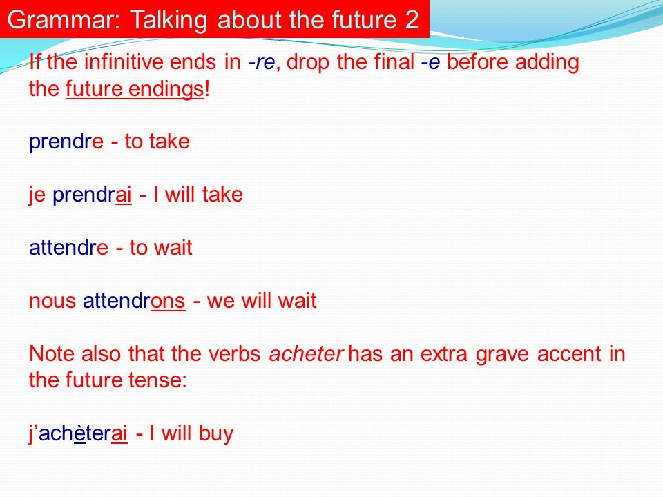 Grammar: Talking about the future 2 If the infinitive ends in -re, drop the final -e before adding the future endings.