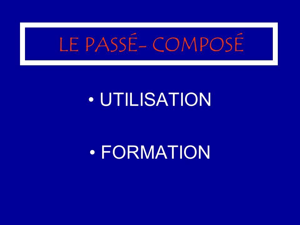 LE PASSÉ- COMPOSÉ UTILISATION FORMATION