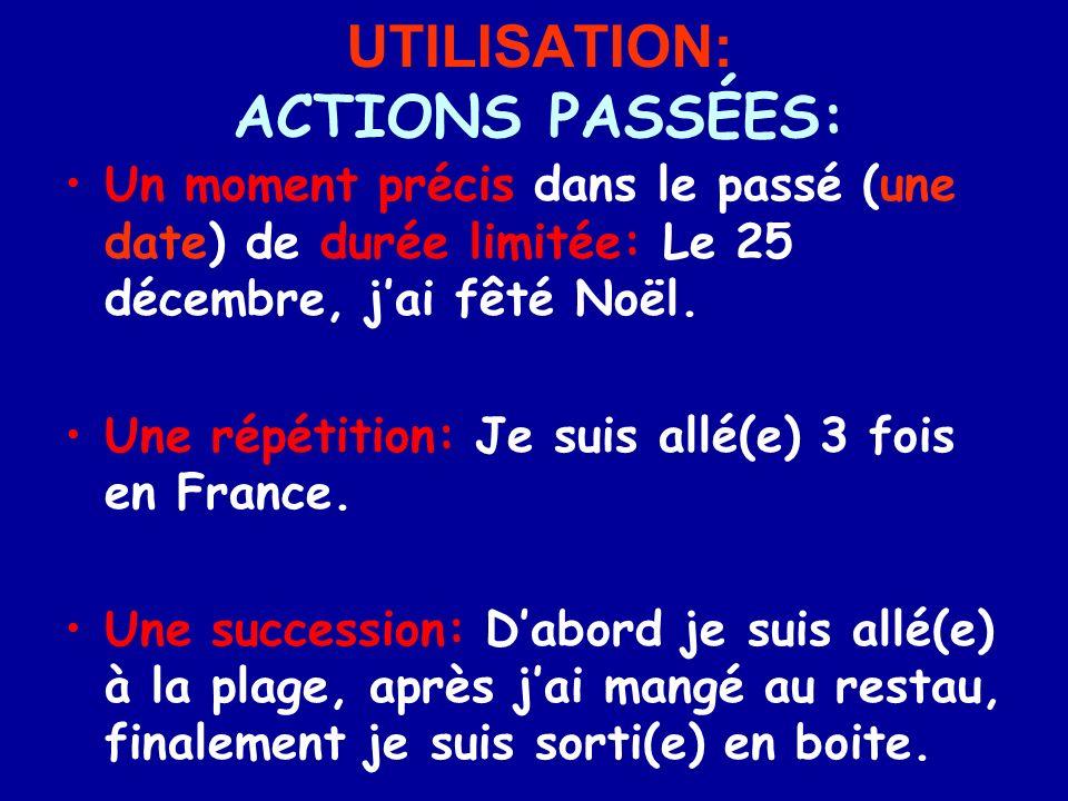 UTILISATION: ACTIONS PASSÉES: Un moment précis dans le passé (une date) de durée limitée: Le 25 décembre, jai fêté Noël.