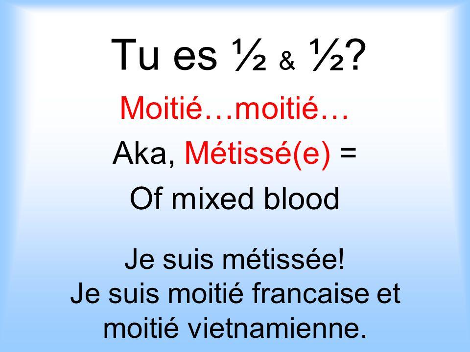 Tu es ½ & ½.Moitié…moitié… Aka, Métissé(e) = Of mixed blood Je suis métissée.