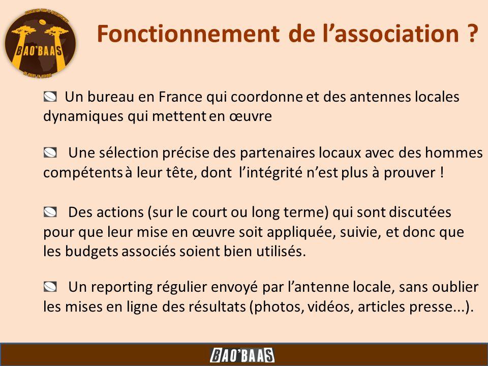 Fonctionnement de lassociation ? Un bureau en France qui coordonne et des antennes locales dynamiques qui mettent en œuvre Une sélection précise des p