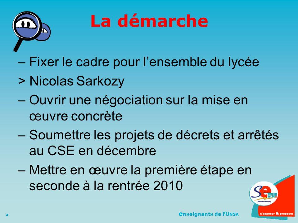e nseignants de lU NSA 4 La démarche –Fixer le cadre pour lensemble du lycée > Nicolas Sarkozy –Ouvrir une négociation sur la mise en œuvre concrète –Soumettre les projets de décrets et arrêtés au CSE en décembre –Mettre en œuvre la première étape en seconde à la rentrée 2010