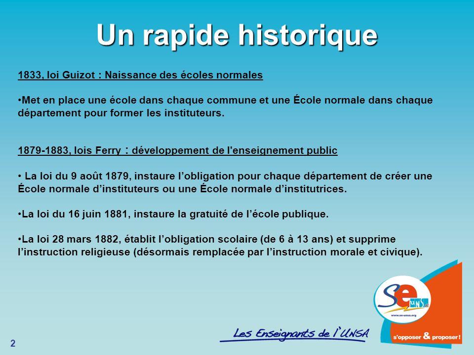 2 Un rapide historique 1833, loi Guizot : Naissance des écoles normales Met en place une école dans chaque commune et une École normale dans chaque dé