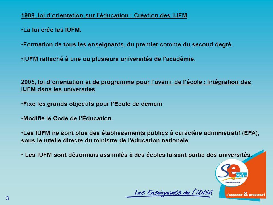 3 1989, loi dorientation sur léducation : Création des IUFM La loi crée les IUFM. Formation de tous les enseignants, du premier comme du second degré.