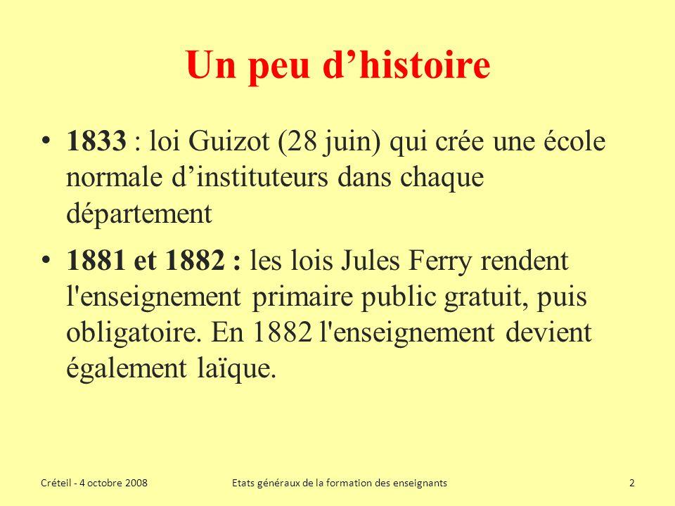 Un peu dhistoire 1833 : loi Guizot (28 juin) qui crée une école normale dinstituteurs dans chaque département 1881 et 1882 : les lois Jules Ferry rendent l enseignement primaire public gratuit, puis obligatoire.