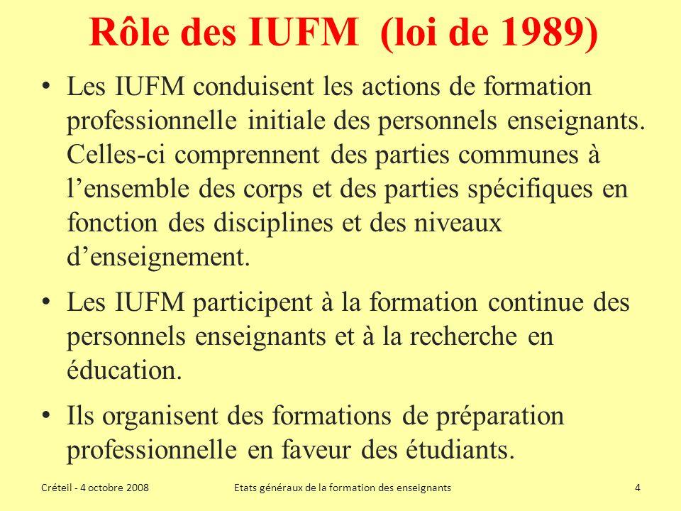Rôle des IUFM (loi de 1989) Les IUFM conduisent les actions de formation professionnelle initiale des personnels enseignants.
