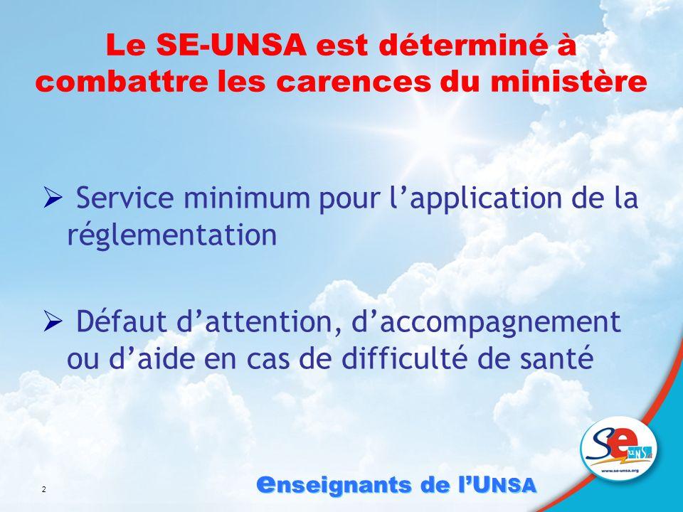 e nseignants de lU NSA 2 Le SE-UNSA est déterminé à combattre les carences du ministère Service minimum pour lapplication de la réglementation Défaut dattention, daccompagnement ou daide en cas de difficulté de santé