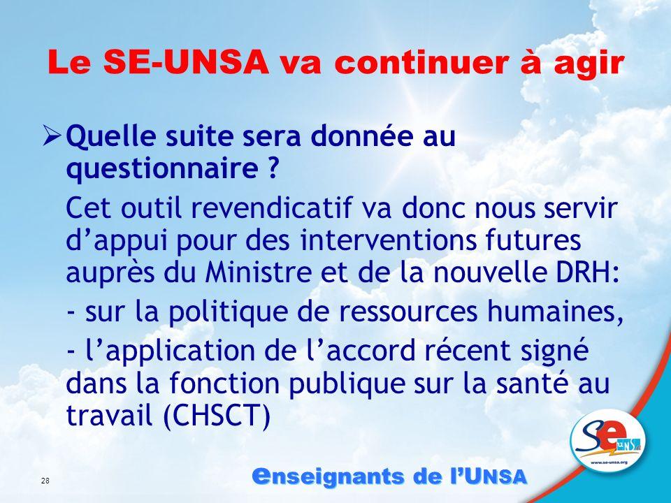 e nseignants de lU NSA 28 Le SE-UNSA va continuer à agir Quelle suite sera donnée au questionnaire .