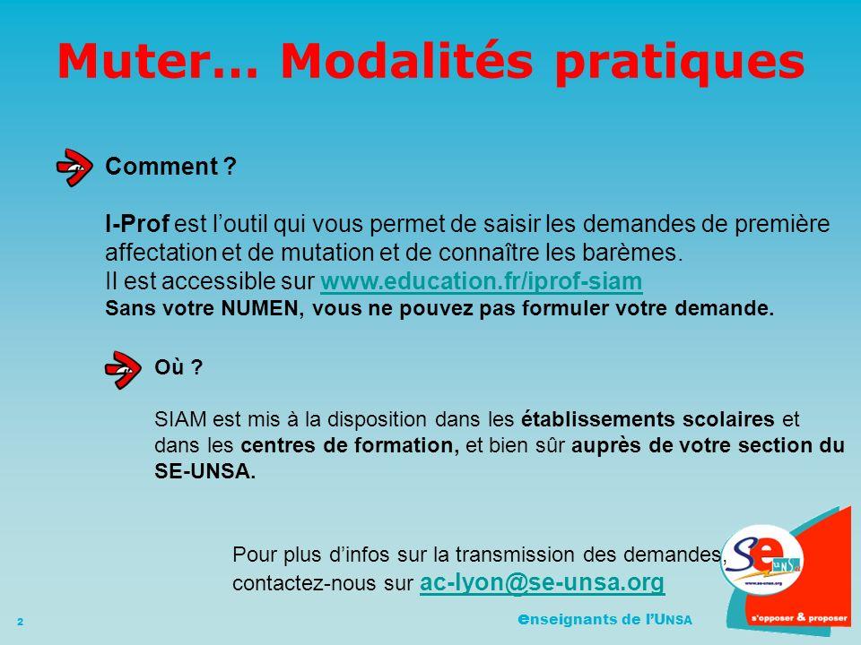 e nseignants de lU NSA 2 Muter… Modalités pratiques Comment .