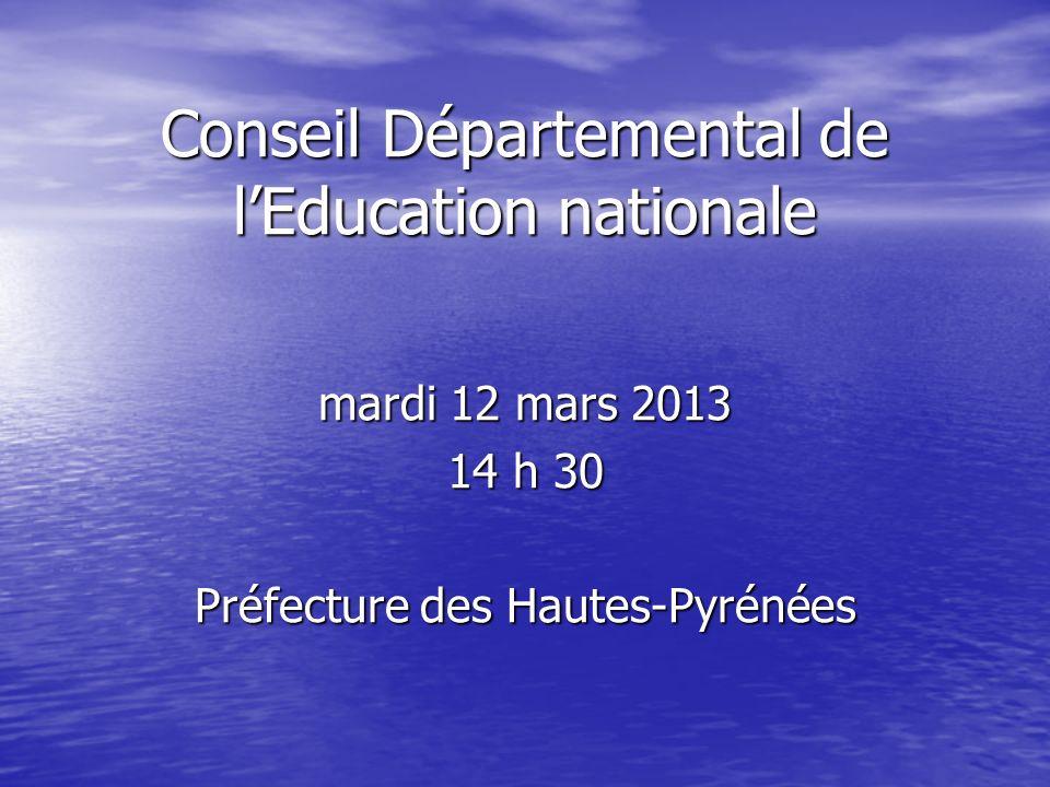 Conseil Départemental de lEducation nationale mardi 12 mars 2013 14 h 30 Préfecture des Hautes-Pyrénées