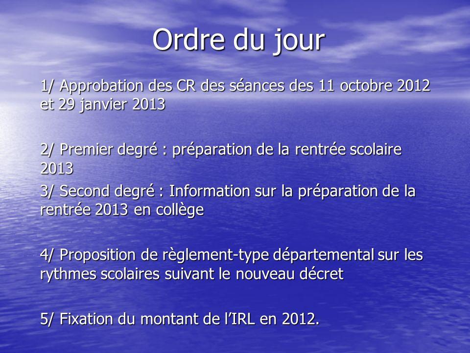 Ordre du jour 1/ Approbation des CR des séances des 11 octobre 2012 et 29 janvier 2013 2/ Premier degré : préparation de la rentrée scolaire 2013 3/ S