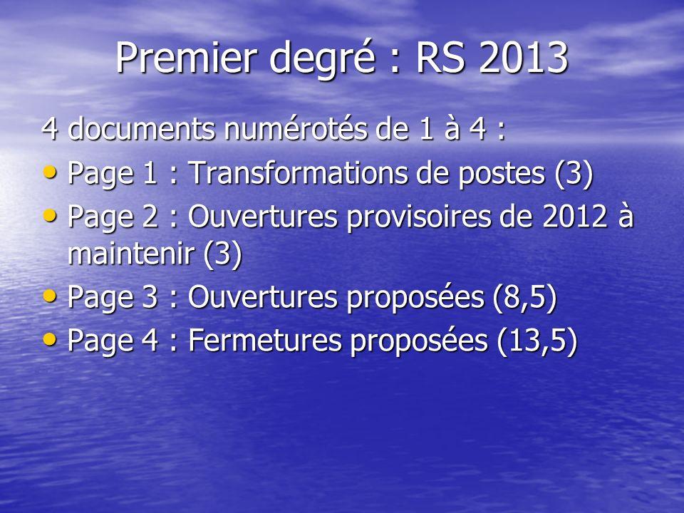 Premier degré : RS 2013 4 documents numérotés de 1 à 4 : Page 1 : Transformations de postes (3) Page 1 : Transformations de postes (3) Page 2 : Ouvertures provisoires de 2012 à maintenir (3) Page 2 : Ouvertures provisoires de 2012 à maintenir (3) Page 3 : Ouvertures proposées (8,5) Page 3 : Ouvertures proposées (8,5) Page 4 : Fermetures proposées (13,5) Page 4 : Fermetures proposées (13,5)