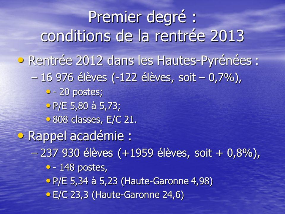 Premier degré : conditions de la rentrée 2013 Rentrée 2012 dans les Hautes-Pyrénées : Rentrée 2012 dans les Hautes-Pyrénées : –16 976 élèves (-122 élè