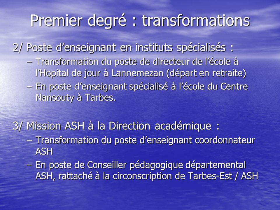Premier degré : transformations 2/ Poste denseignant en instituts spécialisés : –Transformation du poste de directeur de lécole à lHopital de jour à Lannemezan (départ en retraite) –En poste denseignant spécialisé à lécole du Centre Nansouty à Tarbes.