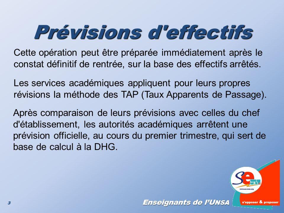 Enseignants de lU NSA 3 Prévisions d'effectifs 3 Cette opération peut être préparée immédiatement après le constat définitif de rentrée, sur la base d