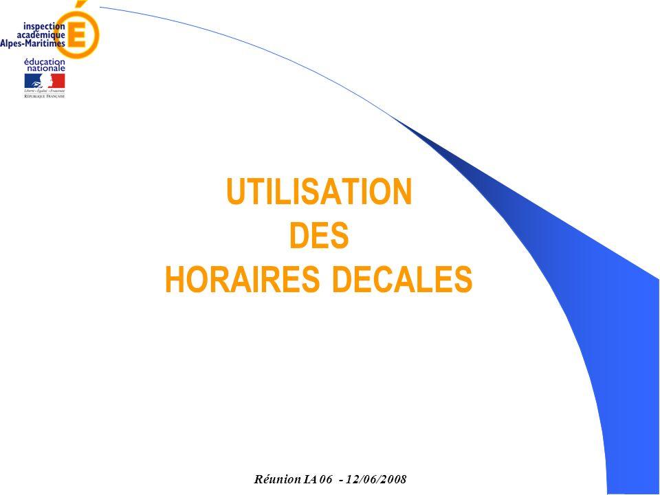 Réunion IA 06 - 12/06/2008 UTILISATION DES HORAIRES DECALES