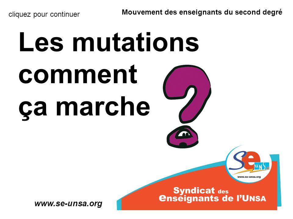 Les mutations comment ça marche Mouvement des enseignants du second degré www.se-unsa.org cliquez pour continuer