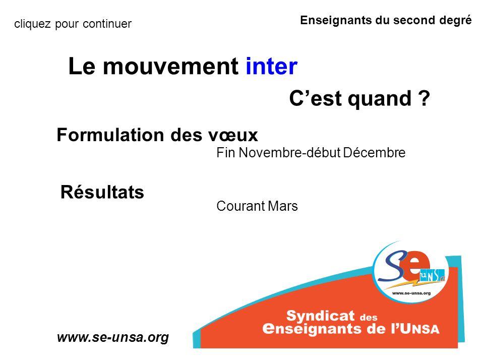 Enseignants du second degré www.se-unsa.org Le mouvement inter quel résultat .
