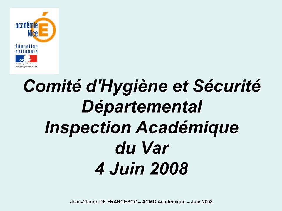 Comité d'Hygiène et Sécurité Départemental Inspection Académique du Var 4 Juin 2008 Jean-Claude DE FRANCESCO – ACMO Académique – Juin 2008