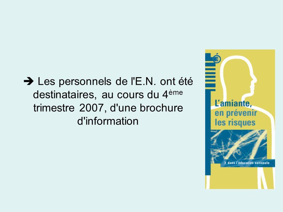 Les personnels de l'E.N. ont été destinataires, au cours du 4 ème trimestre 2007, d'une brochure d'information