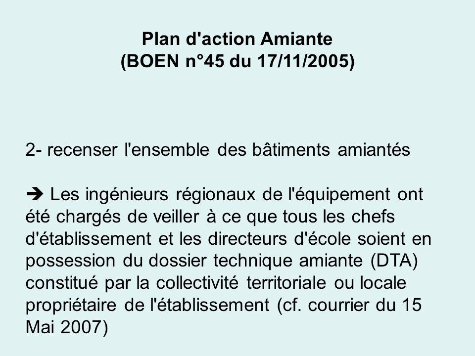 Plan d'action Amiante (BOEN n°45 du 17/11/2005) 2- recenser l'ensemble des bâtiments amiantés Les ingénieurs régionaux de l'équipement ont été chargés