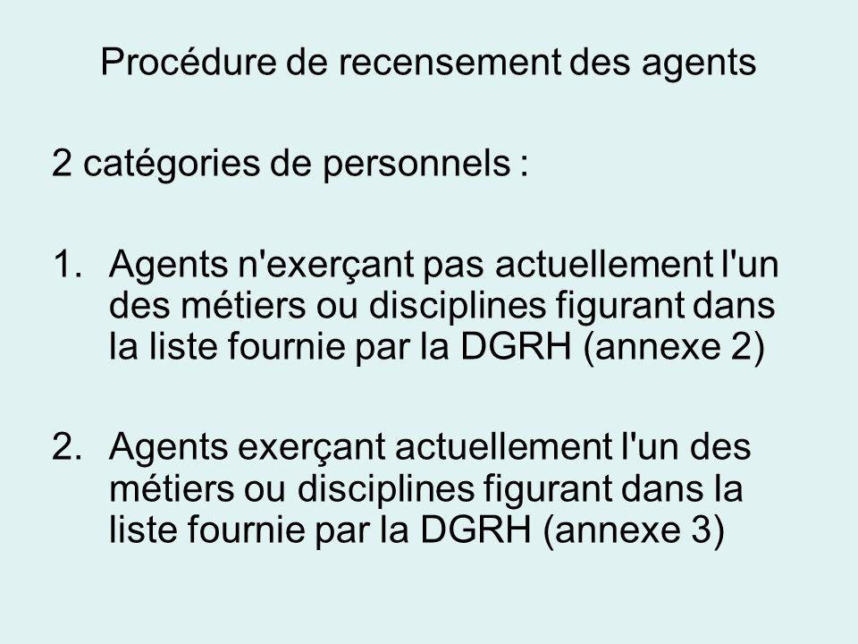 Procédure de recensement des agents 2 catégories de personnels : 1.Agents n'exerçant pas actuellement l'un des métiers ou disciplines figurant dans la