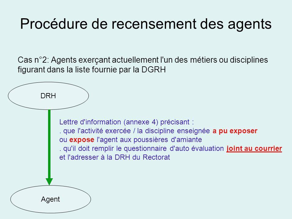 Procédure de recensement des agents Cas n°2: Agents exerçant actuellement l'un des métiers ou disciplines figurant dans la liste fournie par la DGRH D