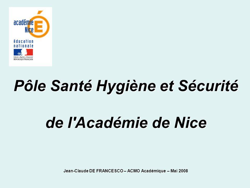 Pôle Santé Hygiène et Sécurité de l'Académie de Nice Jean-Claude DE FRANCESCO – ACMO Académique – Mai 2008
