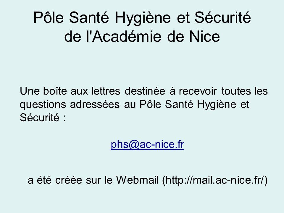 Une boîte aux lettres destinée à recevoir toutes les questions adressées au Pôle Santé Hygiène et Sécurité : phs@ac-nice.fr a été créée sur le Webmail