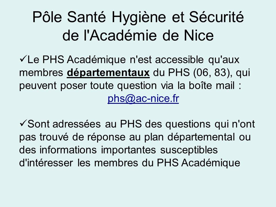Pôle Santé Hygiène et Sécurité de l'Académie de Nice Le PHS Académique n'est accessible qu'aux membres départementaux du PHS (06, 83), qui peuvent pos