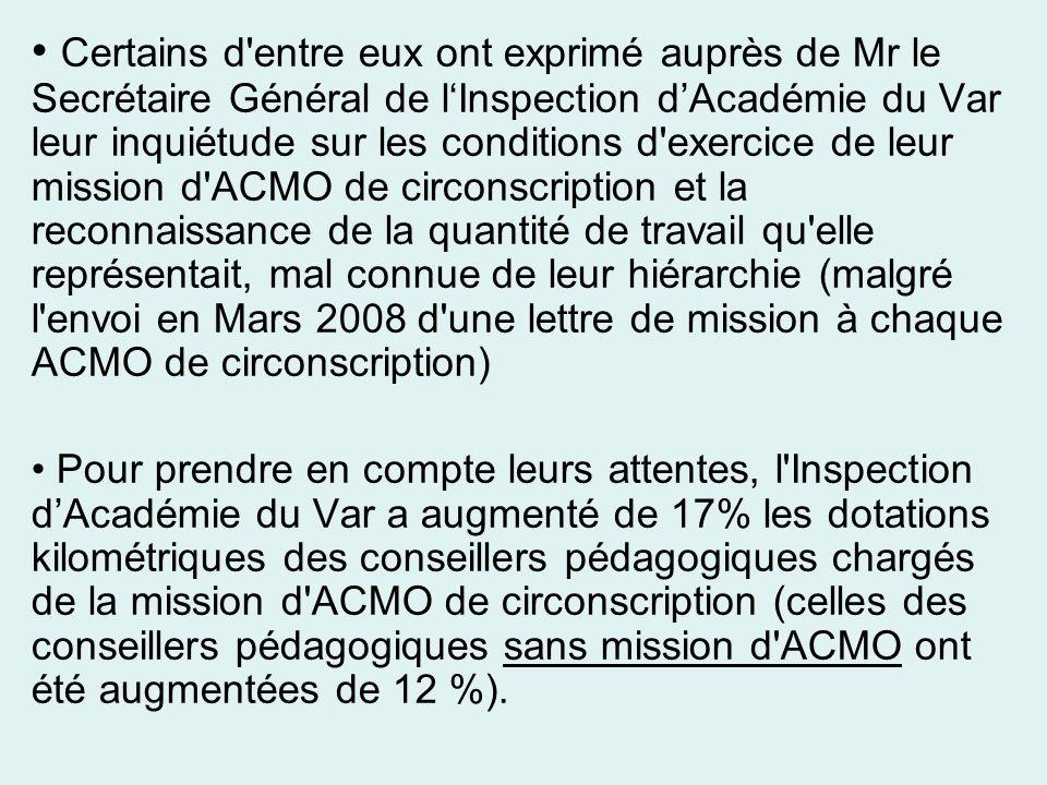 Certains d'entre eux ont exprimé auprès de Mr le Secrétaire Général de lInspection dAcadémie du Var leur inquiétude sur les conditions d'exercice de l