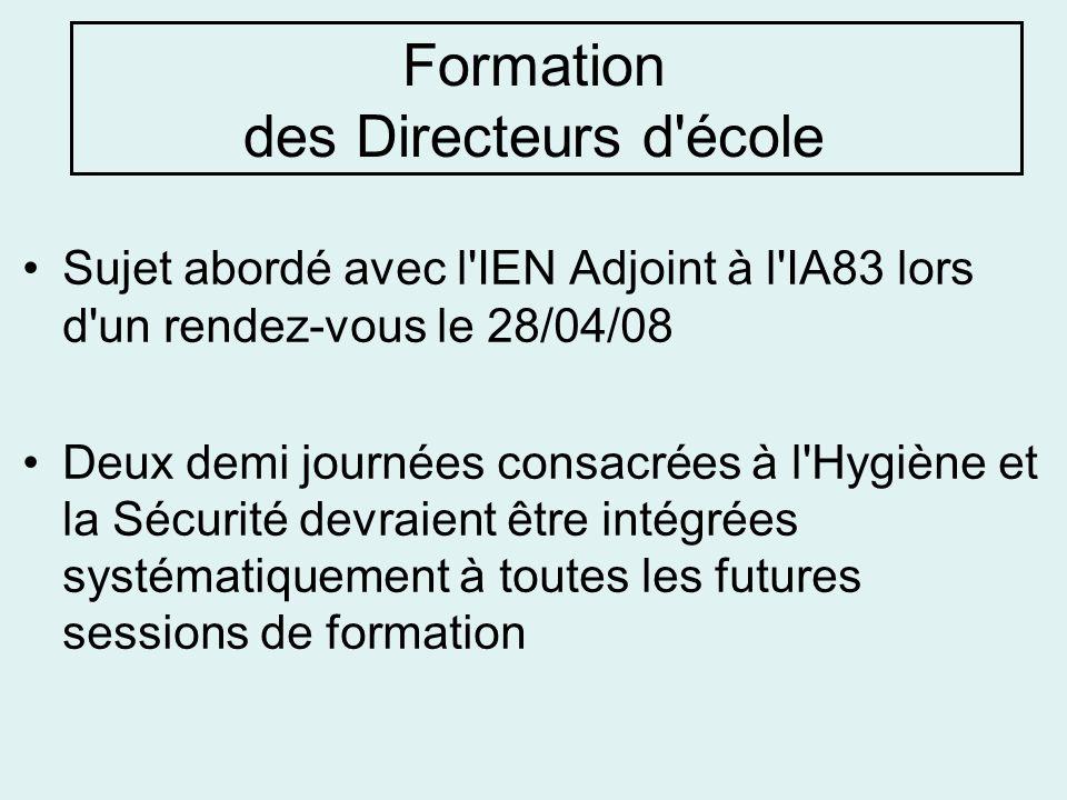 Formation des Directeurs d'école Sujet abordé avec l'IEN Adjoint à l'IA83 lors d'un rendez-vous le 28/04/08 Deux demi journées consacrées à l'Hygiène