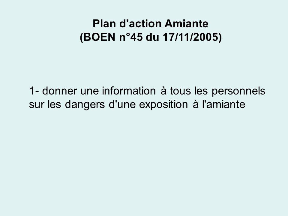 Plan d'action Amiante (BOEN n°45 du 17/11/2005) 1- donner une information à tous les personnels sur les dangers d'une exposition à l'amiante