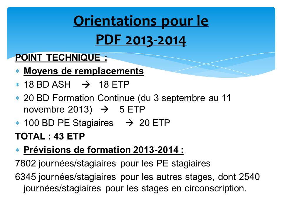 Orientations pour le PDF 2013-2014 POINT TECHNIQUE : Moyens de remplacements 18 BD ASH 18 ETP 20 BD Formation Continue (du 3 septembre au 11 novembre