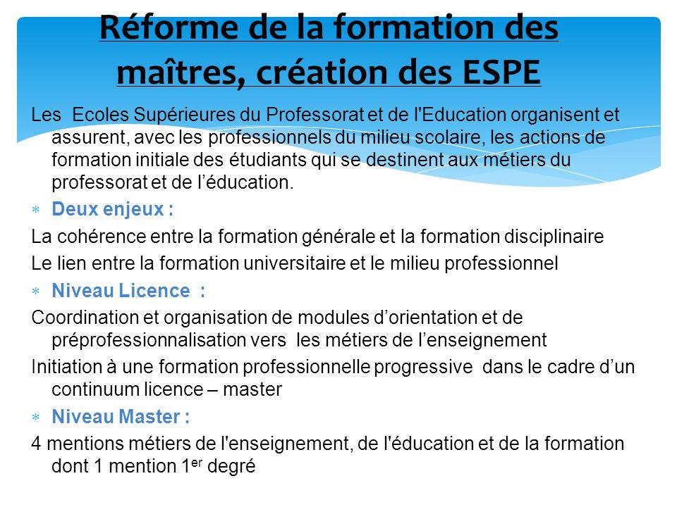 Réforme de la formation des maîtres, création des ESPE Les Ecoles Supérieures du Professorat et de l'Education organisent et assurent, avec les profes