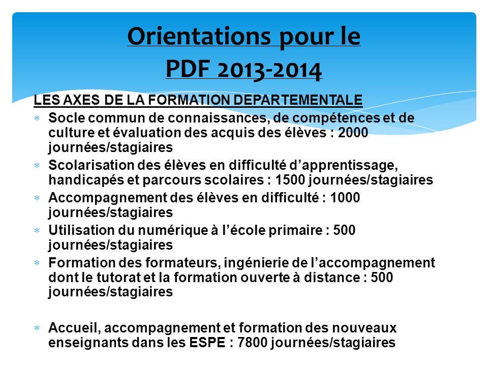 Orientations pour le PDF 2013-2014 LES AXES DE LA FORMATION DEPARTEMENTALE Socle commun de connaissances, de compétences et de culture et évaluation d