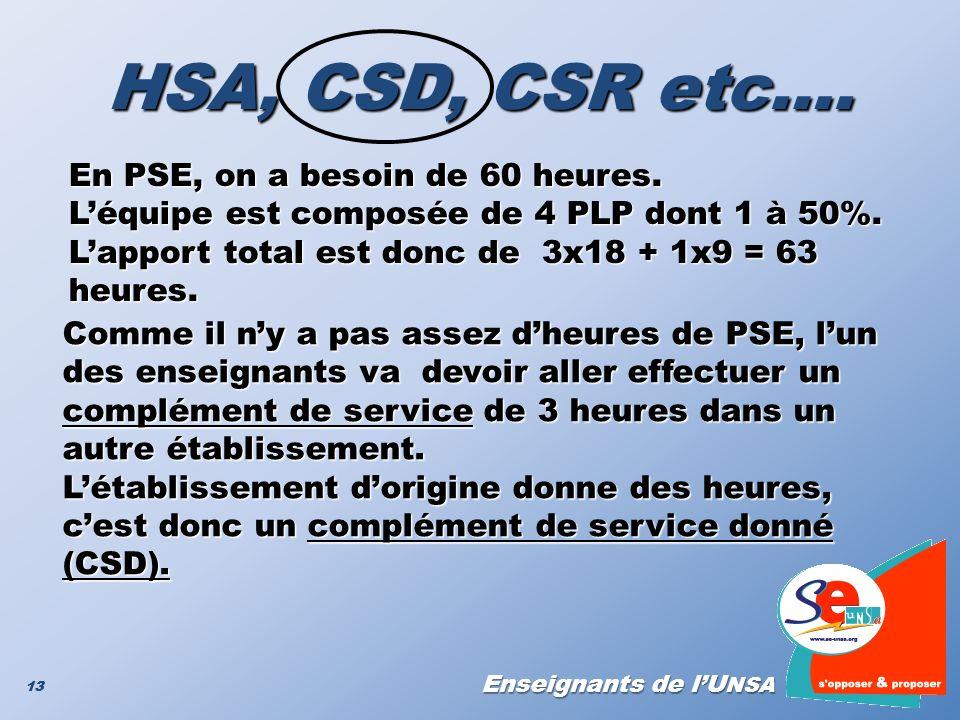 Enseignants de lU NSA 13 HSA, CSD, CSR etc…. En PSE, on a besoin de 60 heures. Léquipe est composée de 4 PLP dont 1 à 50%. Lapport total est donc de 3