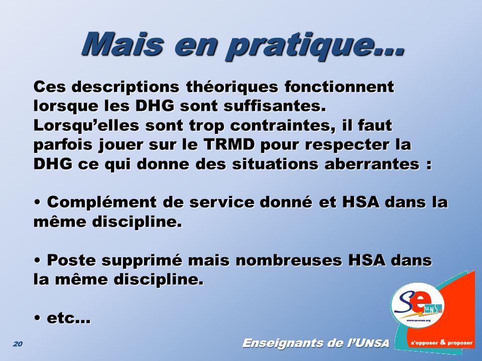 Enseignants de lU NSA 20 Mais en pratique… Ces descriptions théoriques fonctionnent lorsque les DHG sont suffisantes. Lorsquelles sont trop contrainte