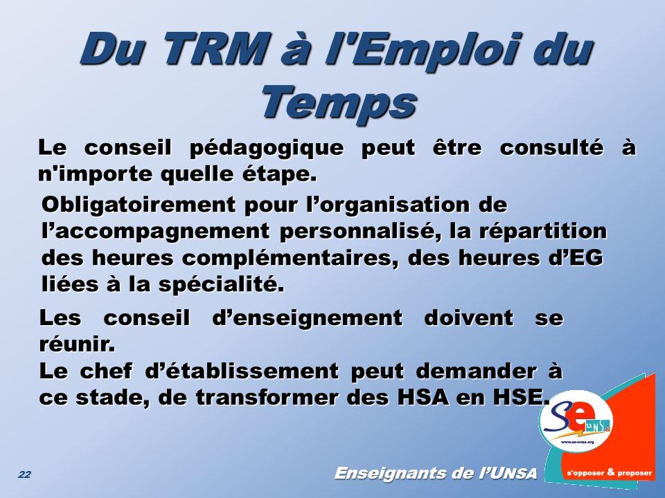 Enseignants de lU NSA Du TRM à l'Emploi du Temps 22 Obligatoirement pour lorganisation de laccompagnement personnalisé, la répartition des heures comp