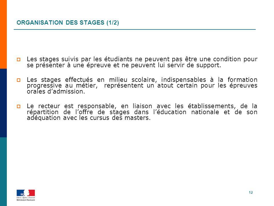 ORGANISATION DES STAGES (1/2) Les stages suivis par les étudiants ne peuvent pas être une condition pour se présenter à une épreuve et ne peuvent lui