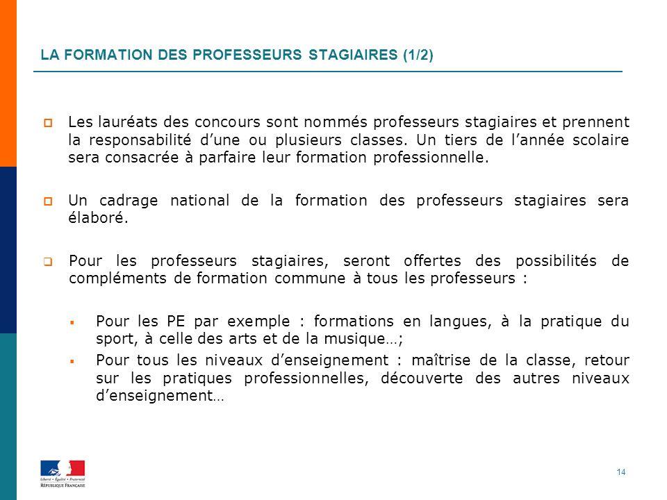 LA FORMATION DES PROFESSEURS STAGIAIRES (1/2) Les lauréats des concours sont nommés professeurs stagiaires et prennent la responsabilité dune ou plusieurs classes.