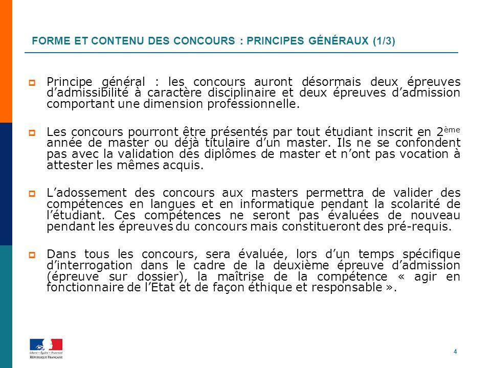 FORME ET CONTENU DES CONCOURS : PRINCIPES GÉNÉRAUX (1/3) Principe général : les concours auront désormais deux épreuves dadmissibilité à caractère dis