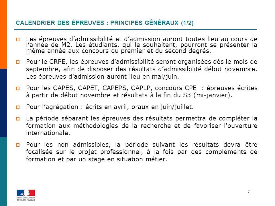 CALENDRIER DES ÉPREUVES : PRINCIPES GÉNÉRAUX (1/2) Les épreuves dadmissibilité et dadmission auront toutes lieu au cours de lannée de M2. Les étudiant
