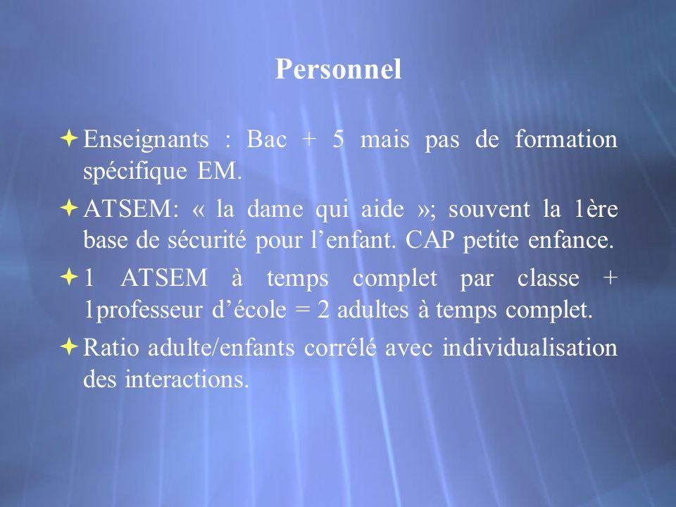 Personnel Enseignants : Bac + 5 mais pas de formation spécifique EM.
